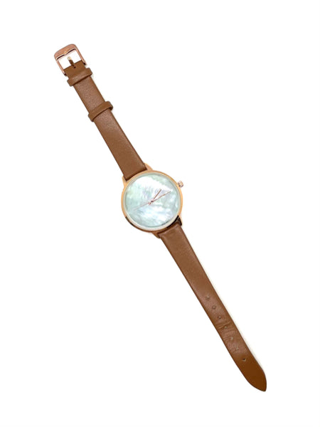 Mother of Pearl Leather Watch