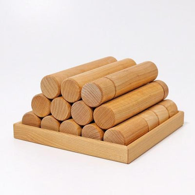 Grimms  - Natural Building Rollers (Large 25pc)