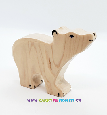 Holztiger Wooden Toys - Polar Bear Small, head raised