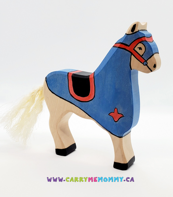 Holztiger Wooden Toys - Blue Tournament Horse
