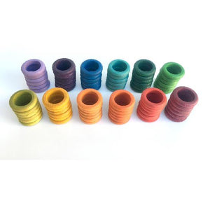 Grapat - Wood Coloured Rings (72pc, 12 Colours)