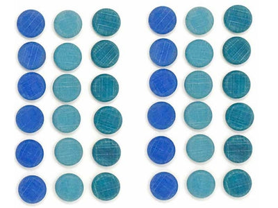 Grapat - Wood Mandala Coins (36pc, Blue)