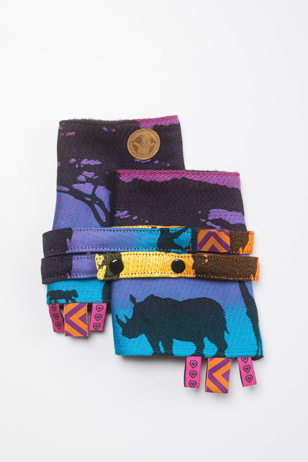 LennyLamb Drool Pads & Reach Straps - Rainbow Safari 2.0
