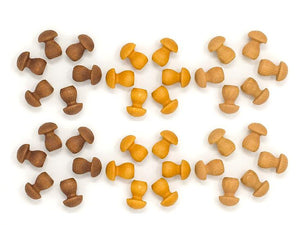 Grapat - Wood Mandala Mushrooms (36pc, Brown)
