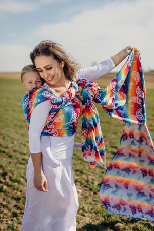 LennyLamb Woven Wrap - Butterfly Rainbow Light