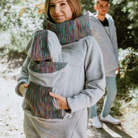 LennyLamb Babywearing Sweatshirt 3.0 - Grey with Colourful Wind