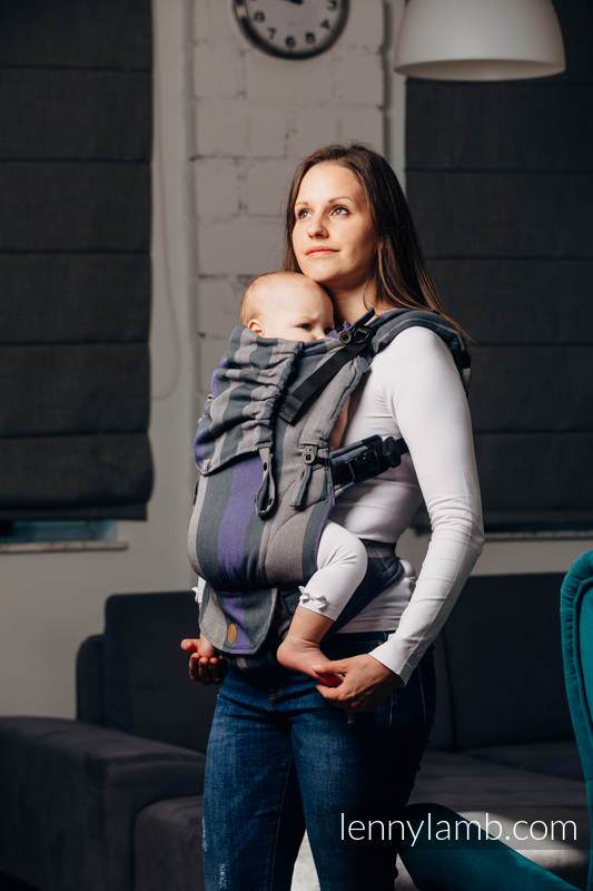 A Grey, Charcoal, and Lilac Purple striped LennyUpGrade baby carrier