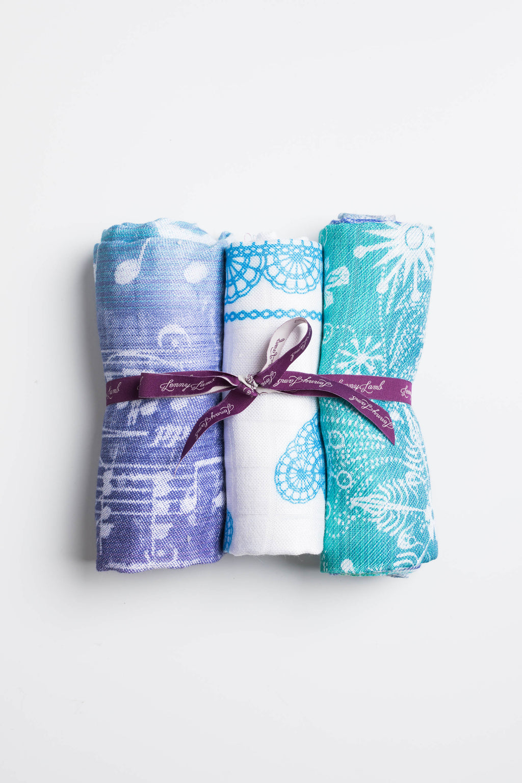 LennyLamb Muslin Square Set - Snow Queen Magic Lake, Symphony Aurora, Turquoise Lace