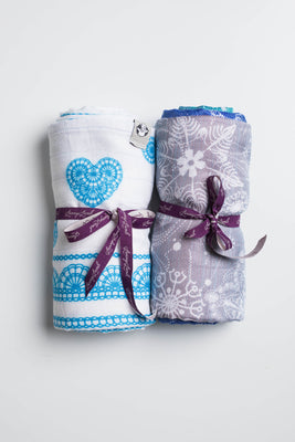 LennyLamb Swaddle Wrap Set - Snow Queen Magic Lake, Turquoise Lace