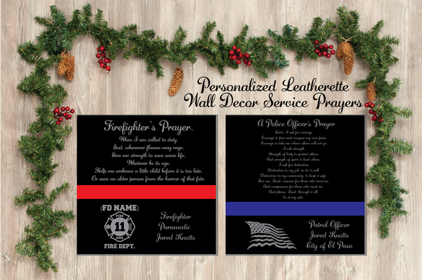 Fire / Police Prayer Leatherette Wall Decor