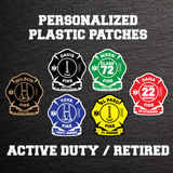 Personalized Duty/Retired FD Plastic Patches
