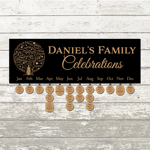 Custom Laser Engraved Family Tree Celebration Board