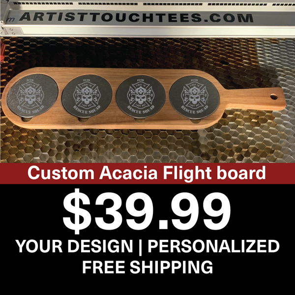 Personalized Acacia Wood & Slate Cutting Boards