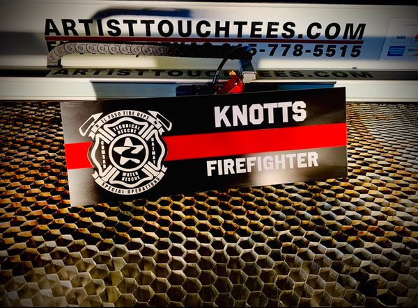Custom Laser Engraved Fire Dept Locker Signs