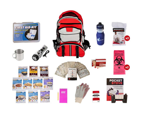 Red Backpack Food Storage Essentials Kit with contents surrounding it.