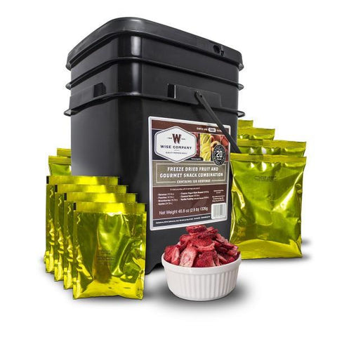 120 Serving Disaster Fruit Bucket with bowl of delicious looking freeze dried strawberries.