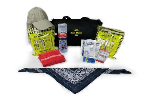 Contents laid out of 16 Piece Mayday Heat Stress Kit - Family Survival Supply