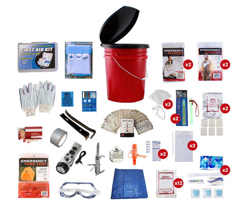 2 Person Deluxe 5 gallon Bucket Kit with all of the contents displayed.