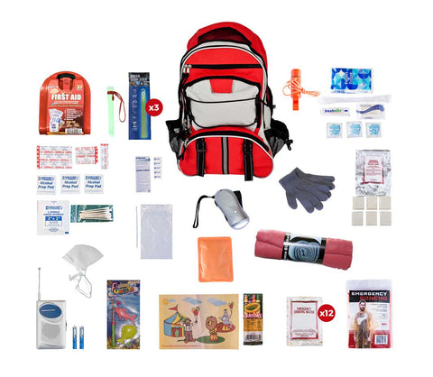 Children's Survival Kit showing red backpack with survival supplies around it