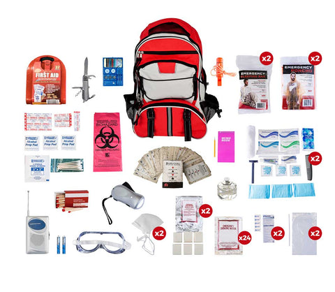 2 Person Guardian Deluxe Survival Kit in Red Backpack with all survival products displayed
