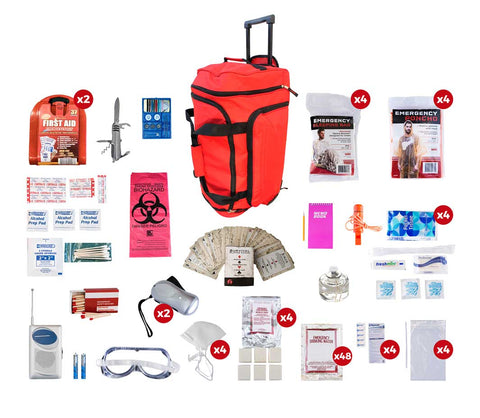 4 Person Deluxe Survival Kit in Red Wheeled Duffel Bag with contents displayed around it