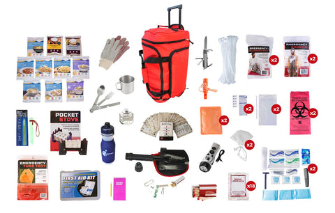 Red Wheel Duffel Bag displaying Food Storage Deluxe Survival Kit with all of the contents surrounding it.