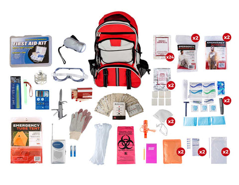 2 Person Guardian Elite Red Multi Pocketed Survival Kit with contents displayed