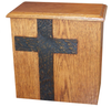barn wood cross oak urn