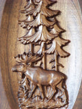 Custom Carved Cabinet Door Inset with Moose Wildlife Millwork