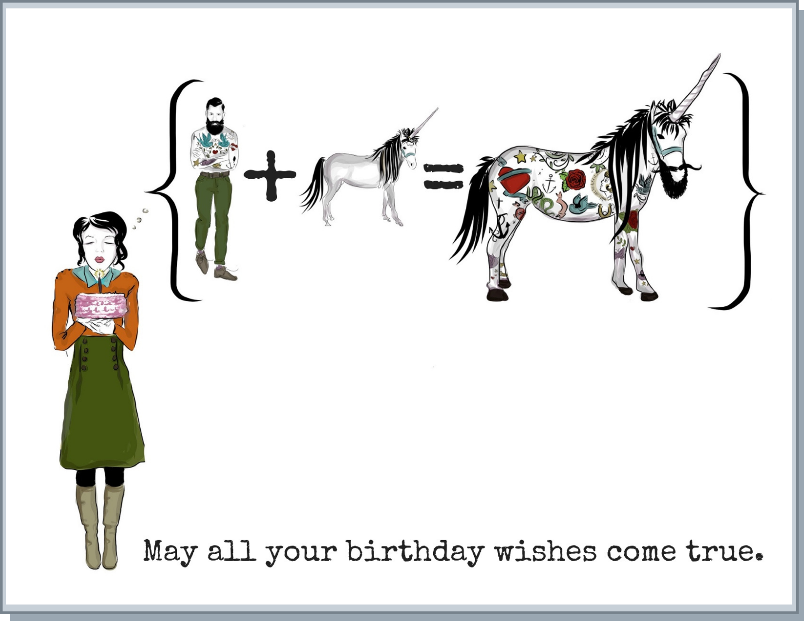 Newfolk&Cabin Hipster Unicorn - Greeting Card