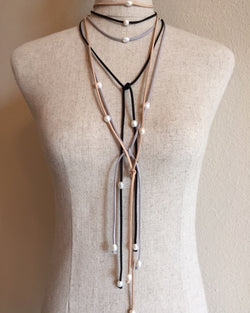 Pearl Leather Wrap Lariat