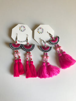 Embroidered Tassel Earrings