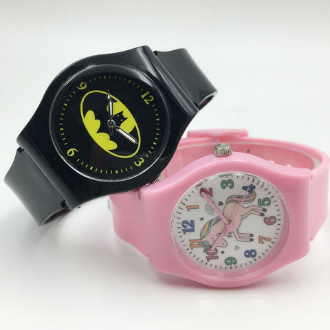 Cute Pink Jelly Band Unicorn Watches For Girl Kids Gift Cool Quartz Boys Watch Fashion Student Wristwatches montre enfant