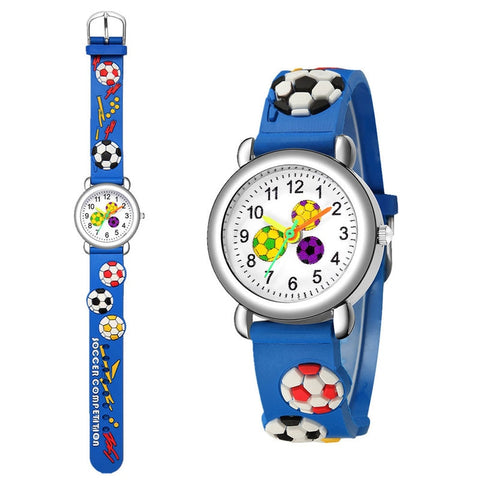Football Silicone Kids Watches Unique Design Cartoon Ball Wristwatch Boy Quartz Montre Enfant Children Birthdays Gift