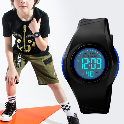 SKMEI Children Waterproof Watch Boys Girls LED Digital Sports Watches Plastic Kids Alarm Date Casual Watch Select Gift for kid