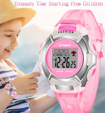 SYNOKE Fashion Children Watch Girls Boys LED Digital Sports Watches Kids Alarm Date Watch Gift for kid Reloj Nino