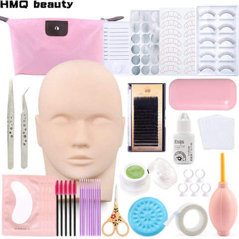 20 in 1False Eyelash Extension Training Kit Practice Model Head Eye Pads Tweezers Glue Ring Brush Grafting Eyelash Tools Kit
