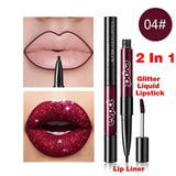 Double head Diamond Lip Gloss Base Nude Matte Lipgloss Lip Tint Focallure Lipstick Beauty glazed Sexy Shimmer Makeup Cosmetic TX