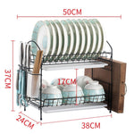 3 Tiers Dish Drainer Stainless Kitchen Dish Rack Storage Shelf Washing Holder Basket Plated Knife Sink Drying Organizer Tools