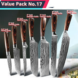Kitchen Knife 1-9 Pcs Set Chef Knives 440C High Carbon Stainless Steel Damascus Drawing Utility Slicing Santoku Japanese Cleaver