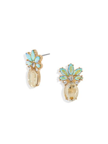 Made with Swarovski Crystal 18K Gold Plated Pinapple Stud Earring