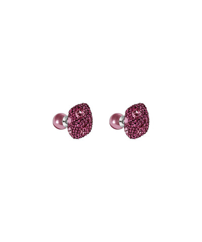 Made with Swarovski Crystal Double Stud Earring - Pink