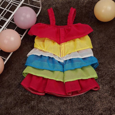 Handmade American Girl Doll Clothes Doll Rainbow Dress Fit 18Inch American Girl Doll Clothes Gift
