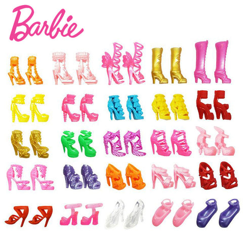 For Original Barbie 20pcs-40pcs Mix doll house Sandals For Decor Doll Toy Girls Dolls Accessories Play House Party Girls Gift