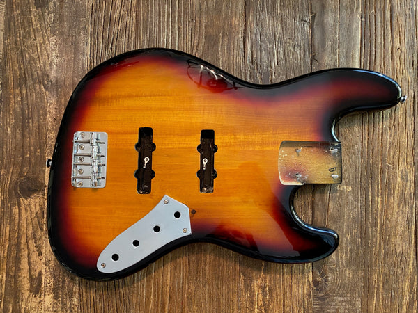 2009 Squier by Fender Vintage Modified Fretless Jazz Bass Body + Hardware | 3-Tone Sunburst