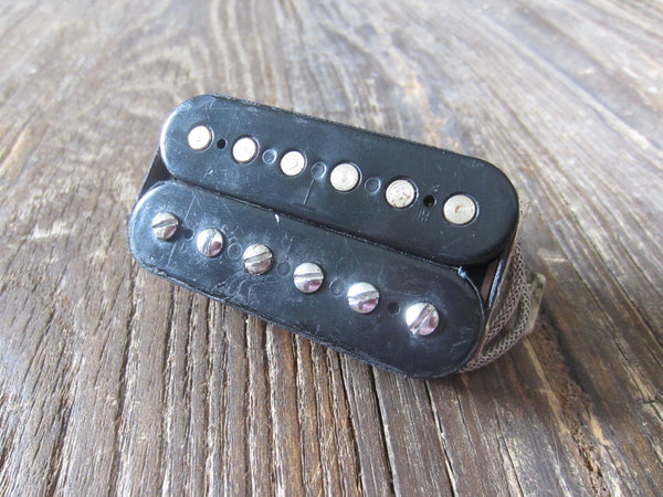 "1970s Gibson T-Top Humbucker Pickup | Double Black Bobbins, Previous Repair, 6.83 kΩ, 15"" Vintage Lead"