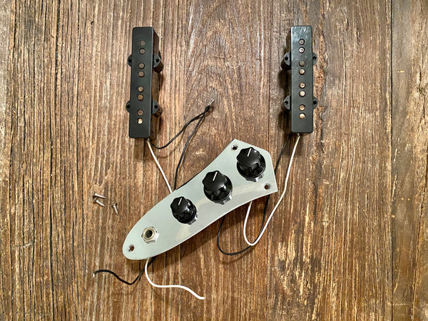 Fender Standard Series Jazz Bass Loaded Control Plate + Pickups | Black Covers w/ Chrome Control Plate