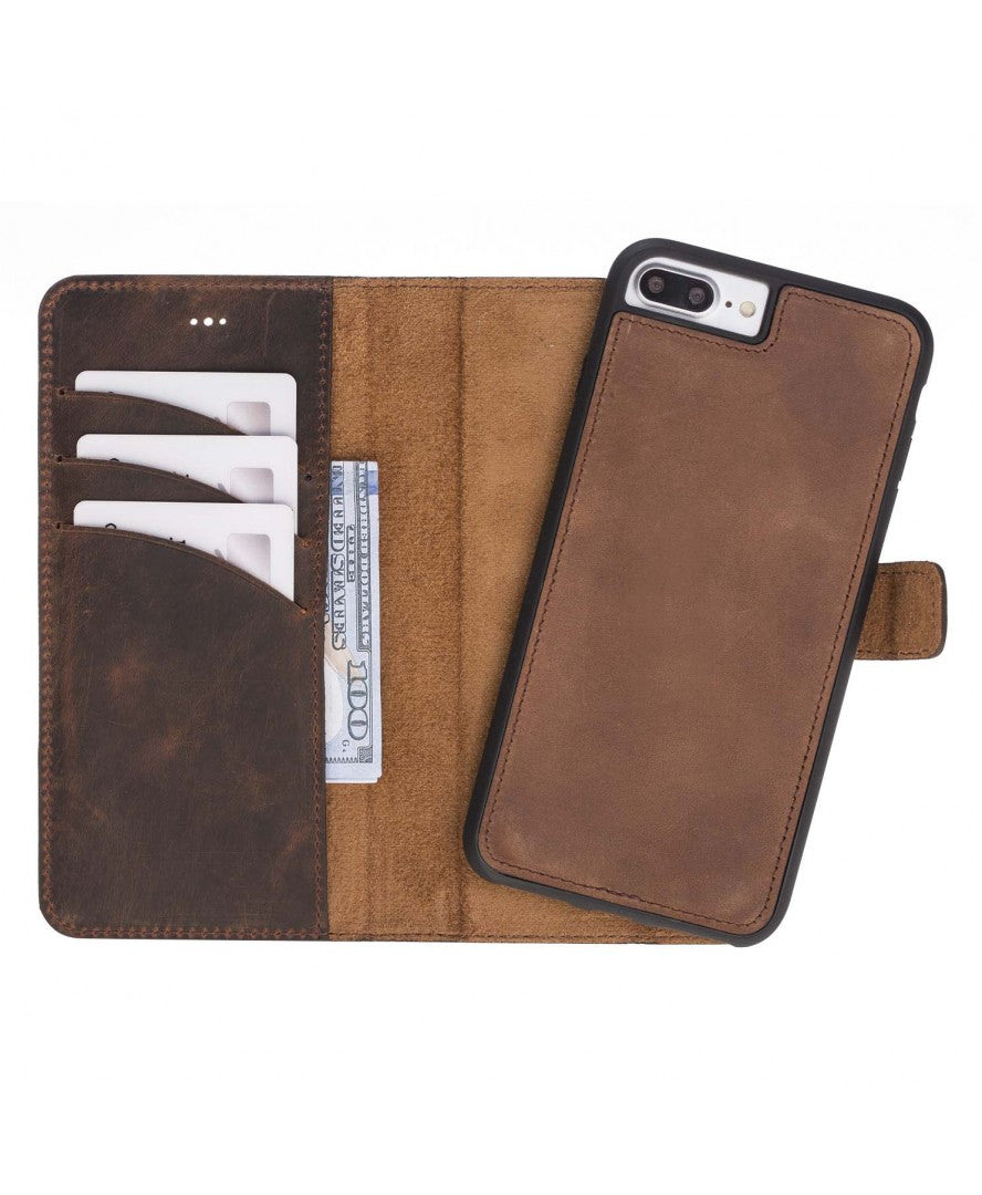 Leather Detachable Wallet Case for iPhone 7/7+/8/8+, Brown - Babazen