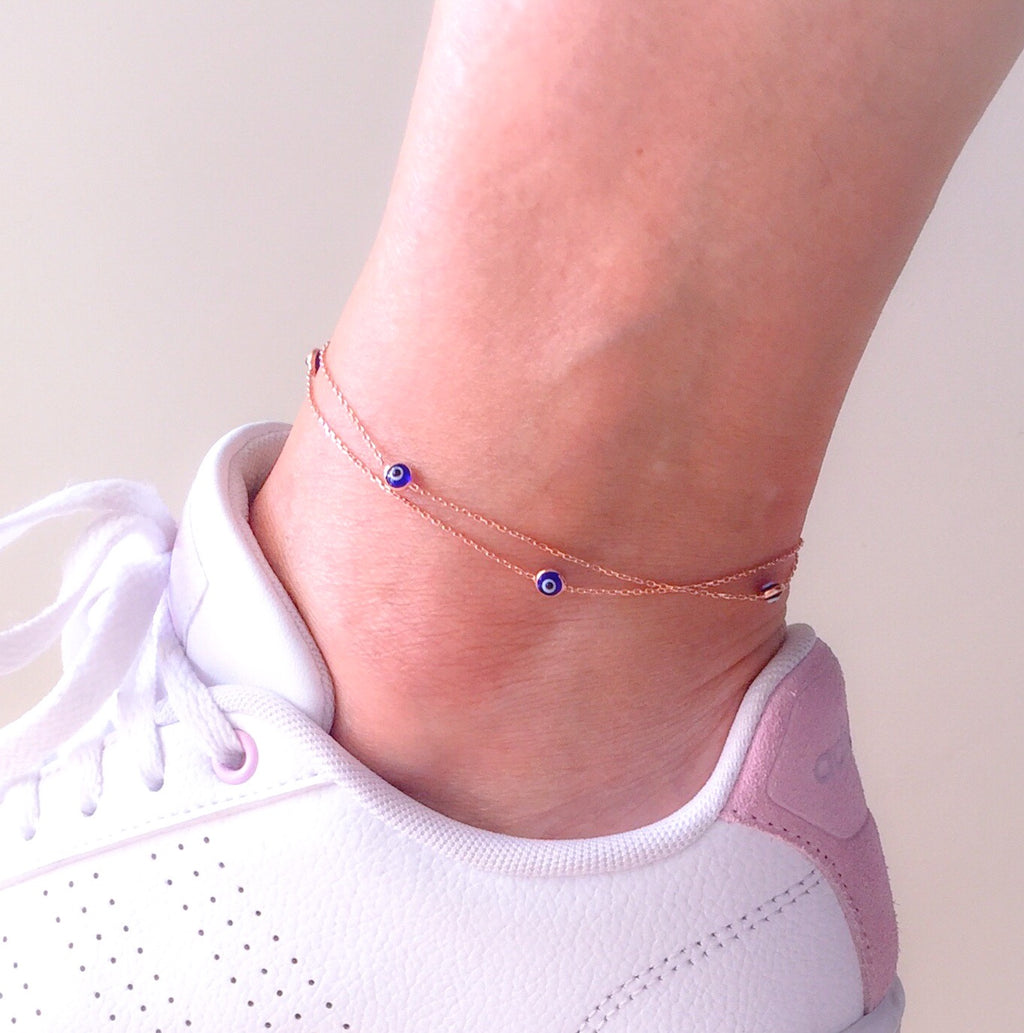 Handmade Evil Eye Charm Anklet Foot Jewelry - Babazen
