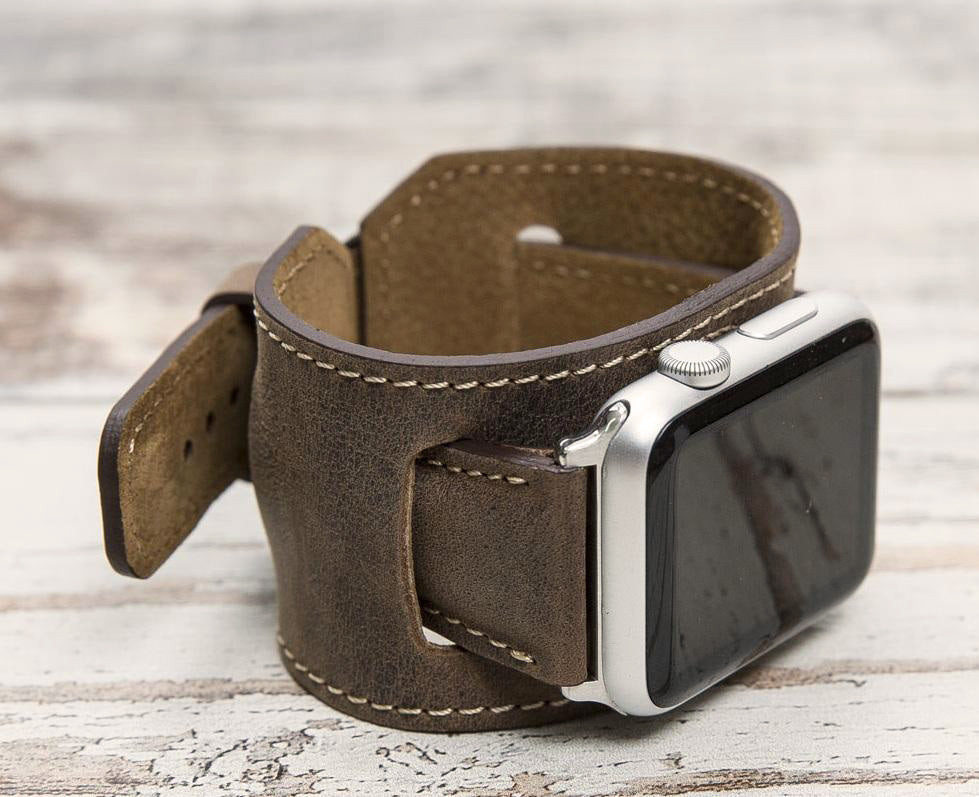 Leather Apple Watch Cuff, Antic Brown - Babazen